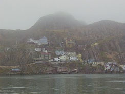Fog settling over The Battery, a neighbourhood in St. John's, the foggiest city in Canada.