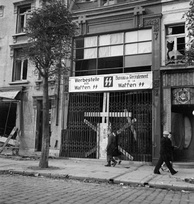 Waffen-SS recruiting center in Calais, Northern France photographed shortly after liberation by the Allies.