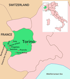 Location of Turin (Torino in Italian) and some other venues