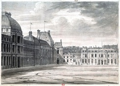 The Committee of General Security was located in Hôtel de Brionne on the right; it gathered on the first floor. (The Tuileries Palace, which housed the convention, is on the left)