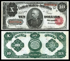 Sheridan memorialized on the 1890 $10 Treasury note, and one of 53 people depicted on United States banknotes