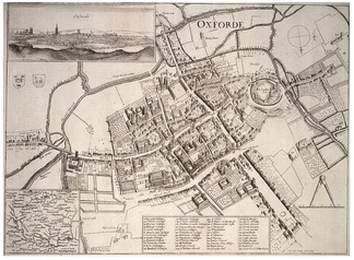 On the left and upper left, the River Cherwell, Magdalen Bridge (East Bridge), and Christ Church Meadow (Christ Church walks) are marked on Wenceslaus Hollar's map of Oxford. Headington Hill and Marston are off the left hand side of the map.