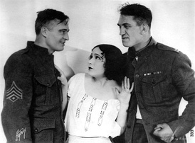 Edmund Lowe, Dolores del Rio, and McLaglen in What Price Glory? (1926)