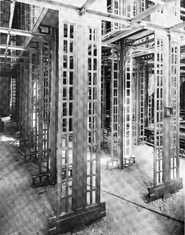 The two lowest stack levels before inter­vening floor panels were installed