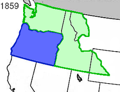 The State of Oregon (blue) with the Washington Territory (green) in 1859