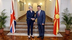 Prime Minister Zoran Zaev with Prime Minister of the United Kingdom Theresa May in Skopje on 17 May 2018.