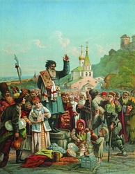 Kuzma Minin appeals to the people of Nizhny Novgorod to raise a volunteer army against the Polish invaders