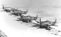 109th Fighter Squadron F-51 Mustangs parked in the snow