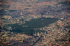 Aerial photo over central Berlin showing City West, Potsdamer Platz, Alexanderplatz and the Tiergarten