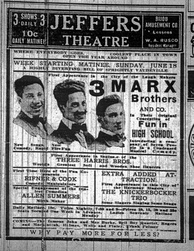 1911 newspaper advertisement for a Marx Brothers appearance (l–r: Harpo, Groucho, Gummo)