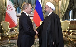 Putin with Iranian President Hassan Rouhani, 2017