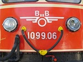 "ÖBB's first logo. It consists of a flying wheel-styled symbol with one ""B"" on each side of the ""Ö"", and was used from 1960 to 1974."