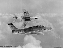 General Motors F-84F-25-GK Thunderstreaks of the 31st Fighter Escort Group, about 1952. Serial 51-9378 identifiable