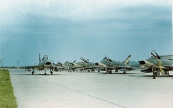 136th Tactical Fighter Squadron F-100s after their return from Tuy Hoa Air Base, now in camouflage paint, 1969