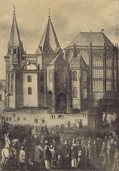 "Presentation of the four ""Great Relics"" during the Aachen pilgrimage, after a 17th-century painting"