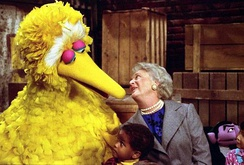 Mrs. Barbara Bush participates in a taping of the television show Sesame Street at United Studios (1989).