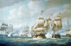 French and British ships fighting at the battle of Santo Domingo