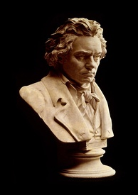 A bust by Hugo Hagen based upon Beethoven's life mask