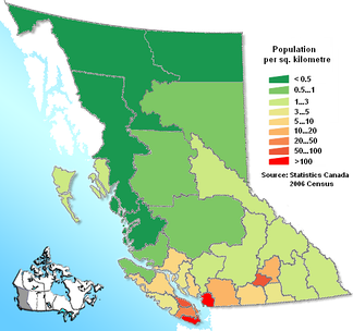 Map of British Columbia regional districts with population density.