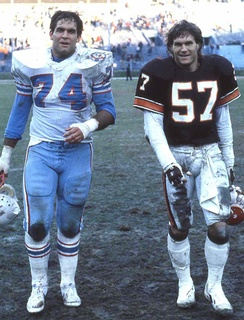 Browns linebacker Clay Matthews (right) with his brother Bruce Matthews of the Houston Oilers. Matthews played a key role on Cleveland's defenses of the late 1980s.