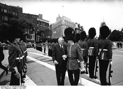 A guard of honour provided by the 1st Battalion, Canadian Guards during the visit of West German Chancellor Ludwig Erhard to Ottawa in 1964.