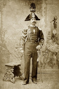 Photo of a Carabiniere around 1875. The 'Medal of Italian Independence' is worn, indicating a veteran of the Risorgimento (The Wars for Italian Unification).