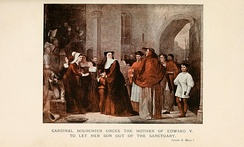 Cardinal Bourchier urges the mother of Edward V to let her son out of Sanctuary, by John Z. Bell