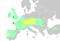Diachronic distribution of Celtic people from 500 BC   Expansion into the southern Low Countries by 270 BC