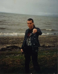 Chuck Schuldiner (1967–2001) of Death, during a 1992 tour in Scotland in support of the album Human.