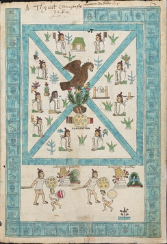 Depiction of the founding myth of Mexico-Tenochtitlan from the Codex Mendoza