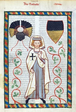 Tannhäuser in the habit of the Teutonic Knights, from the Codex Manesse