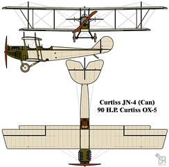 "Drawing of the Curtiss JN-4 (Can) or ""Canuck"""