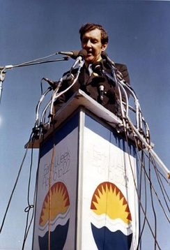 Muskie campaigning during the 1972 presidential elections.