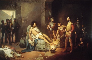 """The Torture of Cuauhtémoc"", a 19th-century painting by Leandro Izaguirre"