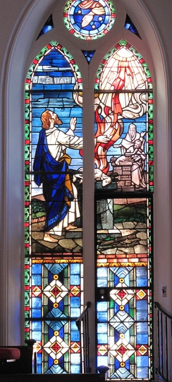 Elijah's offering is consumed by fire from heaven in a stained glass window at St. Matthew's German Evangelical Lutheran Church in Charleston, South Carolina.