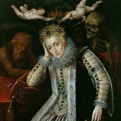 Elizabeth I, painted around 1610, during the first revival of interest in her reign. Time sleeps on her right and Death looks over her left shoulder; two putti hold the crown above her head.[207]