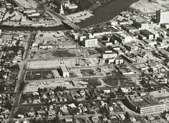 Aerial view of downtown Fairbanks, Alaska in the early 1960s, showing the area cleared in Alaska's first urban renewal project.