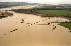 The floodplain after a one-in-10-year flood on the Isle of Wight