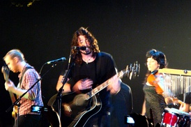 Foo Fighters performing an acoustic show in 2007.