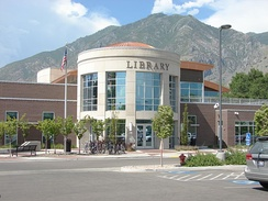 Springville Public Library with view of Wasatch Range in background.