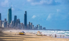 Recreational beaches, such as this one on the Gold Coast of Australia, can be shaped and maintained by beach nourishment projects.[1]