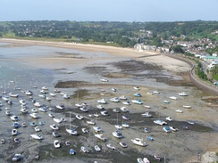 The harbour of Gorey, Jersey falls dry at low tide.