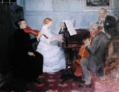 Home music-making in the 19th century; painting by Jules-Alexandre Grün.