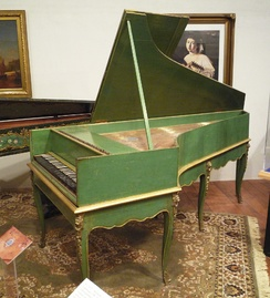Grand piano by Louis Bas of Villeneuve-lès-Avignon, 1781. Earliest French grand piano known to survive; includes an inverted wrestplank and action derived from the work of Bartolomeo Cristofori (ca. 1700) with ornately decorated soundboard.
