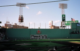 The Braves playing against the Boston Red Sox during a 2001 away game at Fenway Park.