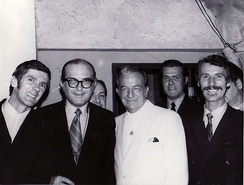 "From left: Stan ""Cuddles"" Johnson, Fraser MacPherson, Bob Smith, Harry James, Al Johnson, Stew Barnett. (The Cave Supper Club, May 1970)"