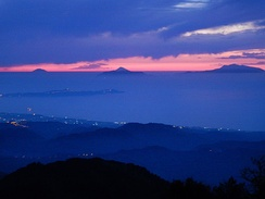 Sunset at the Aeolian Islands seen from mount Dinnammare, Peloritani