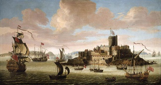 Castle Cornet over the harbour of St Peter Port in the second half of 17th century.