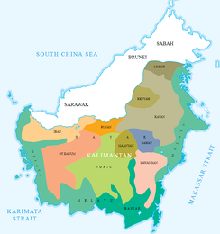 Various indigenous Malay and Dayak homeland in Indonesian Borneo. In contrast to the coastal Borneo which predominantly inhabited by ethnic Malay and Banjarese people, the Dayak groups were located further in the inland Kalimantan. Apart from Kalimantan, the Dayak groups can be found in the Malaysian state of Sarawak and Brunei.