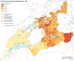 Territorial growth of Bern, the largest free imperial city